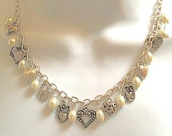 Stunning Pearl and Heart Charm Silver Necklace...