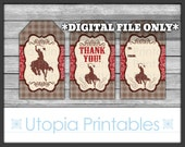 Cowboy Gift Tags Country Western Thank You Favor Tags Rural Rustic Theme Old West Horse Digital Printable Instant Download
