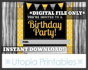 Fill In The Blank Birthday Party Invitation Quatrefoil Yellow Black Gray Grey White Printable Digital Modern Contemporary Theme Invite