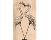 Kissing flamingos Rubber stamp   pink  cling stamp, unmounted or wood Mounted  scrapbooking supplies 9489