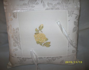 Cross-Stitched Ring Bearer Pillows