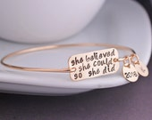 She Believed She Could So She Did Bracelet, Graduation Jewelry Gift, Inspirational Bangle Bracelet