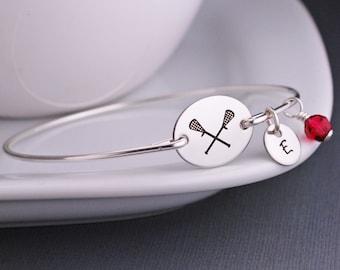 Lacrosse Bracelet, Jewelry for Lacrosse Mom, Silver Personalized Lacrosse Bangle Bracelet, Sports Jewelry, Athletic Jewelry