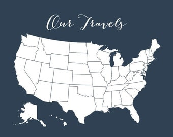 First Anniversary Gifts for Men, USA Map Poster, Adventure US Travel Map, United States Map Print, DIY Gift, Husband Boyfriend Gift, 16x20
