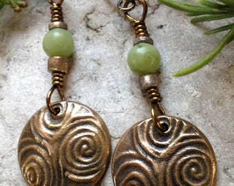 Newgrange Spirals Earrings in Bronze, Irish Celtic Jewelry