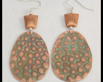 COPPER DOTS - Handforged Patinated Textured Copper Statement Earrings