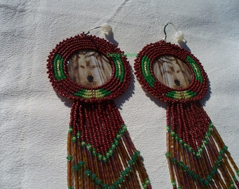 Native American Style Rosette beaded Spirit Wolf earrings in Mahogany with Sea and Sage Green