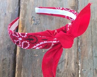 Bandana Knot Tie Headband Bandanna Head Wrap Rock Fashion Headband (RED)