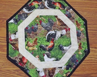 Quilted table topper.  Table topper. Rooster and chickens table topper.