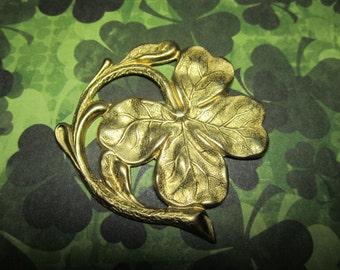 Large Shamrock 4 Leaf Clover Brass Stamping on Etsy x 1