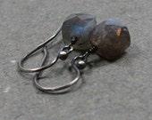 Labradorite Earrings Geometric Jewelry  Minimalist Earrings Oxidized Sterling Silver Earrings