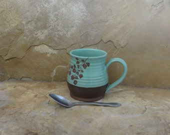 Mug Cup - Handmade Stoneware Ceramic Pottery - Turquoise Blue - Branch - 16 ounce