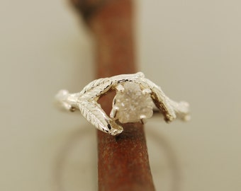 Bud Branch Leaf Ring  with rough diamond, alternative engagement ring, twig ring, branch ring, opal ring, engagement ring