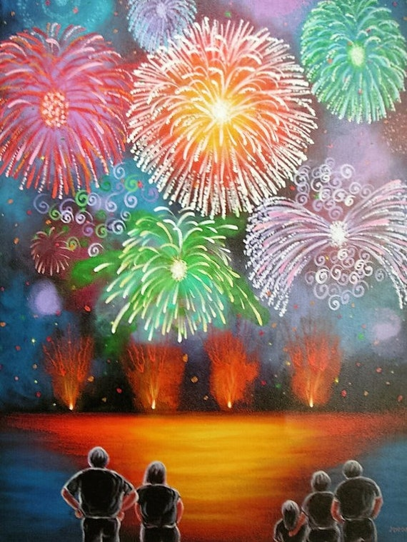 Fireworks, Folk Art, Original acrylic naive, contemporary painting by  Jordanka Yaretz