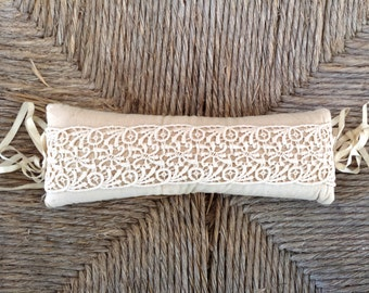 Antique Vintage Long Victorian Lace and Linen Pincushion Pin Cushion