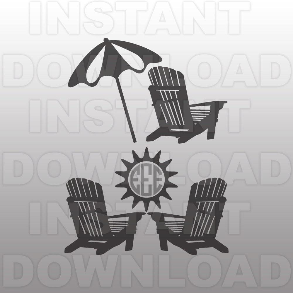 Beach chair and umbrella sketch - Adirondack Chairs Svg File Beach Monogram Svg File Cutting Template Vector Clip Art