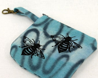Honey bee purse, clip on coin purse, change purse, small essentials bag, screenprinted, hand dyed, cotton zipper pouch, travel purse