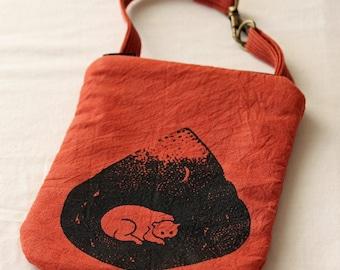 Phone or money purse, iphone bag, screenprinted bear, travel purse, clip on purse, rust orange, mountain life, wristlet, essentials bag
