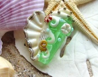 Pale Emerald Green Conch Shell Focal Bead  SRA Handmade Lampwork Bead