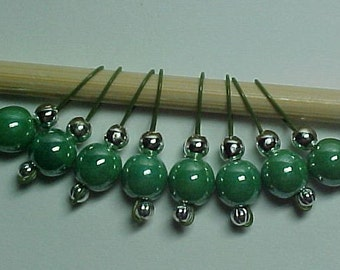 Green Luster On Khaki Wire Stitch Markers - US 5 - Item No. 454