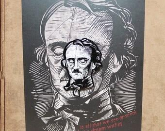 """Edgar Allan Poe Hard Enamel Pin 1.5"""" on backing card"""
