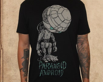 Paranoid Android - Hitchhikers Guide to the Galaxy - Marvin - discharge inks