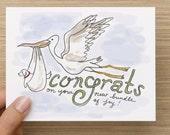 Stork/Bundle of Joy New Dog Adoption Recycled Paper Folded Greeting Card