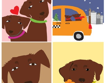 greeting card collection chocolate labs