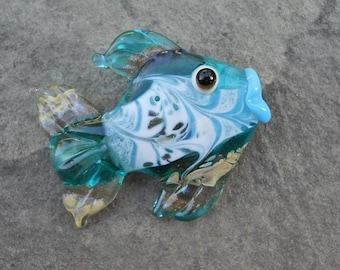 Teal & aqua fish bead, Lampwork glass bead jewelry supplies, handmade fish lovers focal, horizontal hole, SRAJD by Isinglass Design