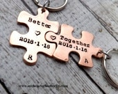 personalized keychain -couples keychains-couples gift-better together-puzzle piece keychains-puzzle piece jewelry-personalized gift-copper
