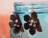 Upcycled earrings, ecofriendly, statement earrings, lightweight earrings, bike, gift for bicyclist, black earrings, floral earrings #314