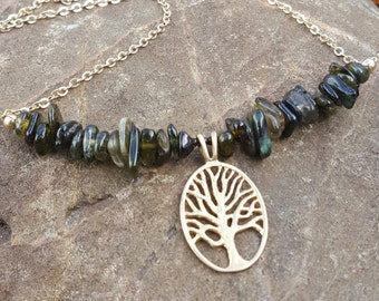 Tree of Life Necklace - Gold with Green Tourmaline
