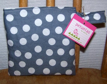 Reusable Little Snack Bag - pouch adults kids polka dots eco friendly by PETUNIAS