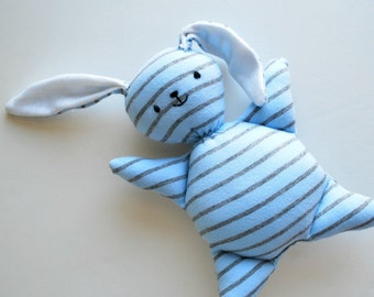 Light Blue Stripey Mooshy Belly Bunny