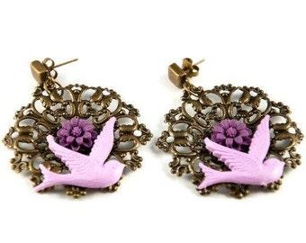 Vintage Purple Bird Earrings