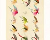 vintage fly fishing print, a printable digital illustration no. 943