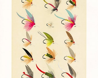 fly fishing print from the 19th century, printable digital download, collage sheet no. 943
