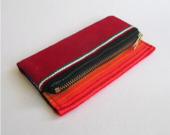 Sunset stripe iPhone wallet, Navajo wool smartphone clutch, red blue black