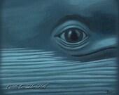 Whale Art Blue Whale painting - 8 x 10 print