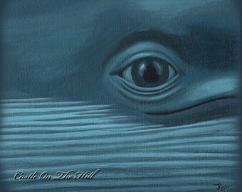 Whale Art Blue Whale painting - 8 x 10 print