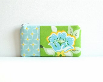 Coin Purse, Small Zipper Pouch, Women and Teens, Gift For Her, Church Flowers in Green, Heather Bailey, Nicey Jane
