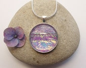 Pendant Necklace Lilac Iridescent Glass Circle