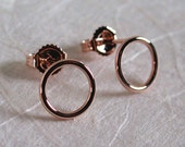 14k Rose Gold Circle Earrings Small Hoop 8.5mm Round Pink Studs by SARANTOS