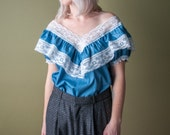 coming soon - cotton ruffle lace blouse / off the shoulder blouse / poet blouse / m / 1376t