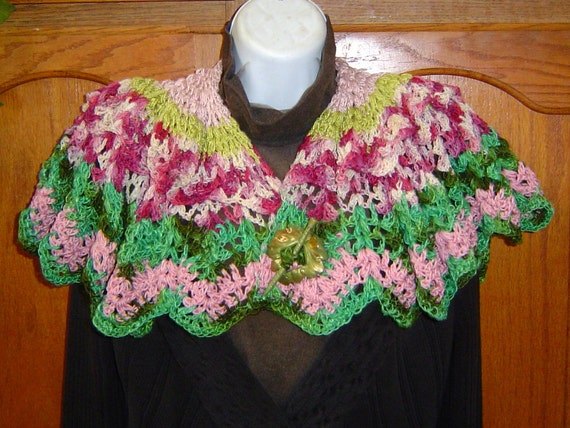 Rose Garden OOAK Victorian Style Circular Shawl Hand Crocheted Silk Cotton Wool Pink Cream Green