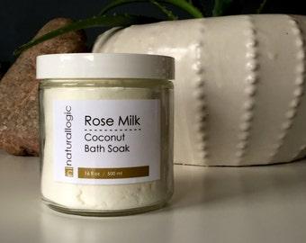 ROSE MILK Coconut Bath Soak. Milk Bath. Bath Salts. Soak. Organic Coconut. Moisturizing Bath Soak. Spa Gift. Vegan.