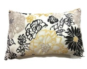 Decorative Pillow Cover Lumbar Floral Yellow White Black Taupe Toss Throw Accent Same Fabric Front/Back 12x18 inch