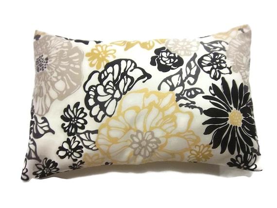 Decorative Pillow Cover 12x18 : Decorative Pillow Cover Lumbar Floral Yellow White Black Taupe