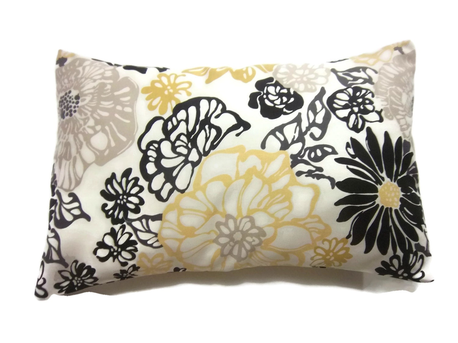 Yellow And Black Decorative Pillows : Decorative Pillow Cover Lumbar Floral Yellow White Black Taupe