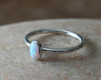 Oval Opal Stacking Ring 6x4 mm, Sterling Silver Ring, Size 2 to 15, Opal Stacker, October Birthstone, Gift for Her, Womens Jewelry, White